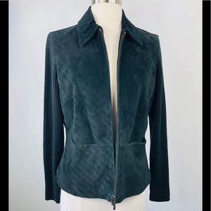 REAL Suede Leather Moto Jacket Black Size Small S